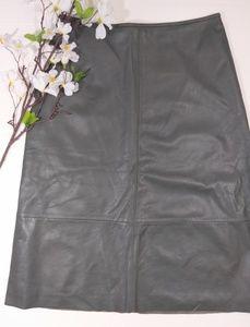Banana Republic moss green learher midi skirt NWT